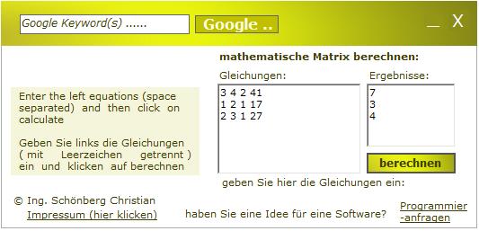 schoenberg mathematische matrix mit unbekannten variablen berechnen think mini. Black Bedroom Furniture Sets. Home Design Ideas