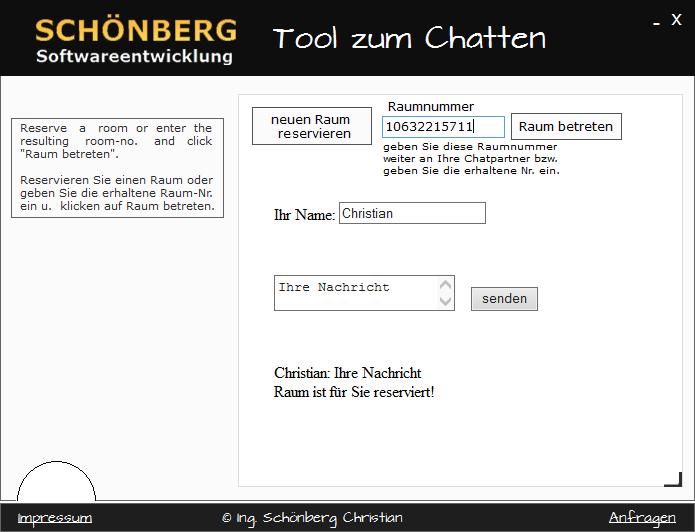 Schoenberg - Programmierauftrag, Programmierer - Chat Tool programmiert