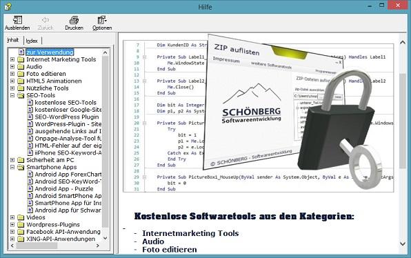 Schoenberg - Programmierauftrag, Programmierer - Compiled HTML Help Format