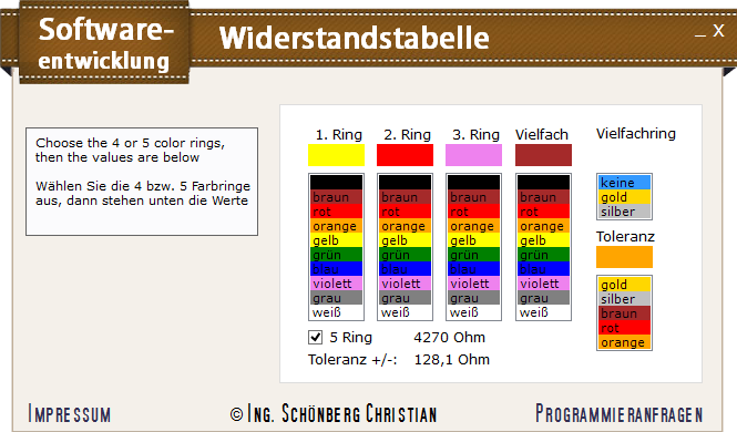 Schoenberg - Programmierauftrag, Programmierer - Elektronik Widerstandstabelle