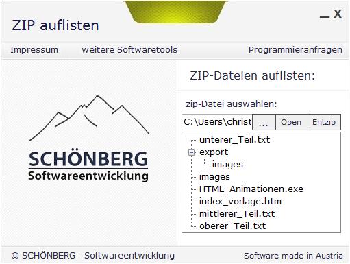 Schoenberg - Programmierauftrag, Programmierer - ZIP-Anwendung