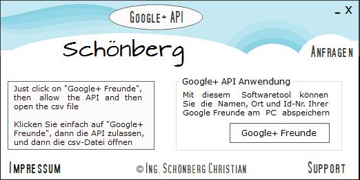 Schoenberg - Programmierauftrag, Programmierer - Google+-API-Anwendungsbeispiel