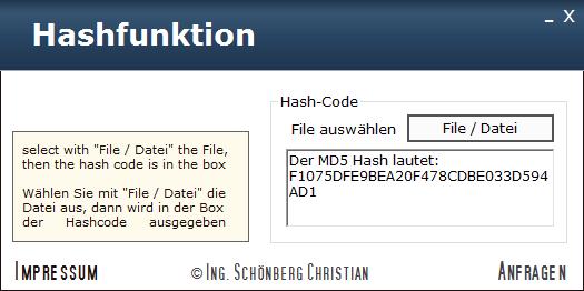 Schoenberg - Programmierauftrag, Programmierer - Hashcode