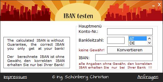 Schoenberg - Programmierauftrag, Programmierer - IBAN testen