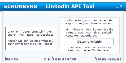 Schoenberg - Programmierauftrag, Programmierer - Linkedin API Anwendungsbeispiel