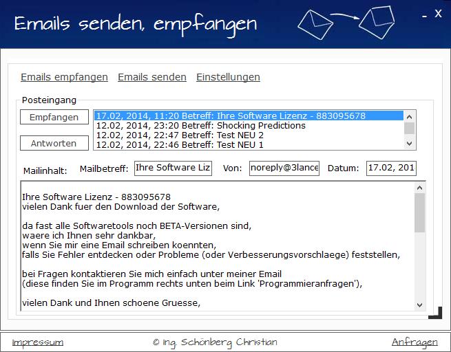 Schoenberg - Programmierauftrag, Programmierer - Emails empfangen und senden