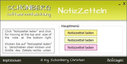 Schoenberg - Programmierauftrag, Programmierer - habe Notizzettel-Tool programmiert