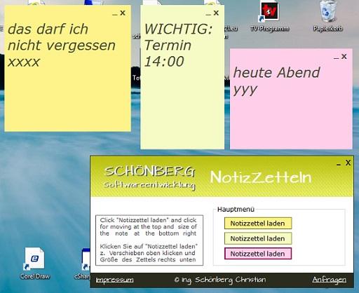 Schoenberg - Programmierauftrag, Programmierer - Notizzettel-Tool programmiert