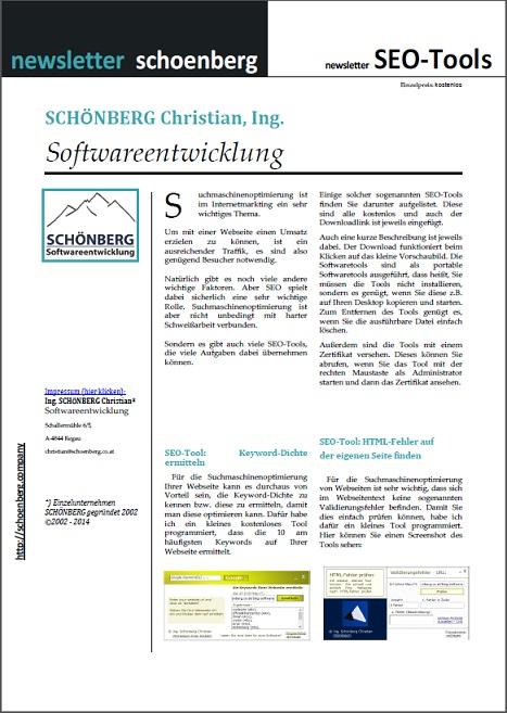 Schoenberg - Programmierauftrag, Programmierer - Ebook mit SEO-Tools