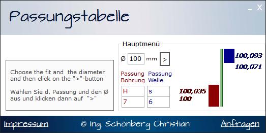 Schoenberg - Programmierauftrag, Programmierer - Maschinenbau Passungstabelle