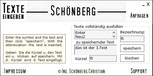 Schoenberg - Programmierauftrag, Programmierer - Texte mit Kürzel vervollständigt eintragen