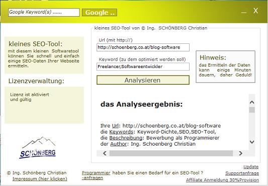 Schoenberg - Programmierauftrag, Programmierer - SEO-Tool Analyse