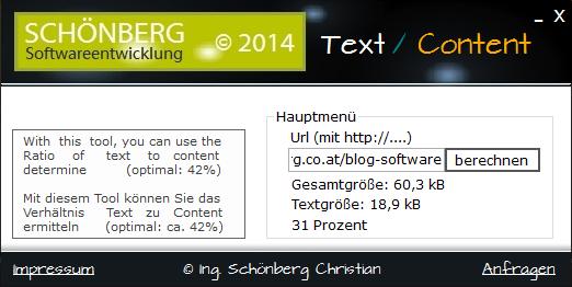 Schoenberg - Programmierauftrag, Programmierer - SEO-Tool - Verhältnis Text zu Content