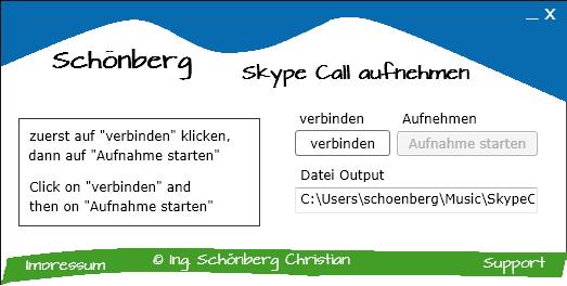 Schoenberg - Programmierauftrag, Programmierer - Skype Recorder