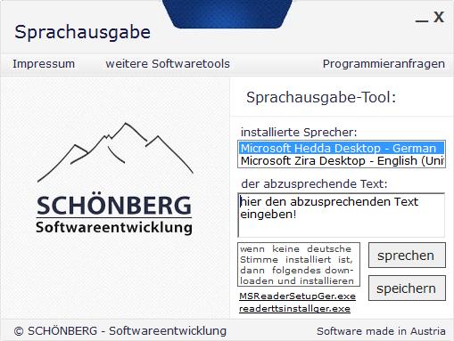 Schoenberg - Programmierauftrag, Programmierer - Sprachausgabe
