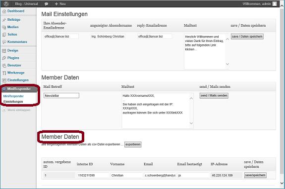Schoenberg - Programmierauftrag, Programmierer - WordPress-Plugin MiniEmailResponder