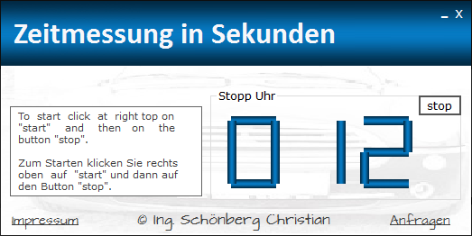 Schoenberg - Programmierauftrag, Programmierer - StoppUhr