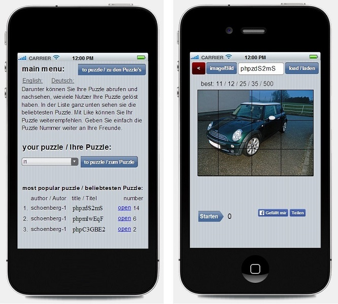 Schoenberg - Programmierauftrag, Programmierer - Android App für Puzzle aus Galeriebild erstellen