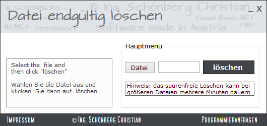 Schoenberg - Programmierauftrag, Programmierer - Dateien unwiderruflich löschen