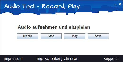 Schoenberg - Programmierauftrag, Programmierer - Sprachaufnahme Tool mit Java programmiert