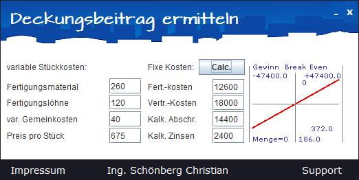 Schoenberg - Programmierauftrag, Programmierer - Deckungsbeitrag (Betriebswirtschaft) berechnen