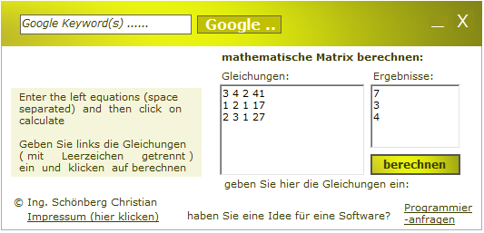 Schoenberg - Programmierauftrag, Programmierer - Matrix berechnen