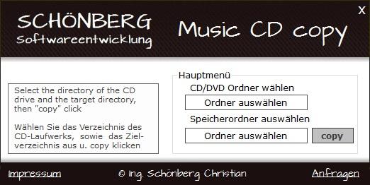 Schoenberg - Programmierauftrag, Programmierer - Musik CDs kopieren (rippen)