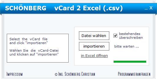 Schoenberg - Programmierauftrag, Programmierer - vCard in Excel .csv umwandeln