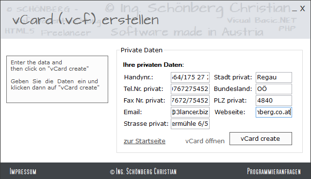 Schoenberg - Programmierauftrag, Programmierer - vCard erstellen